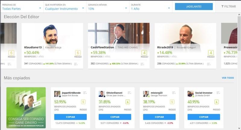 mejores inversores para copiar en eToro en 2021