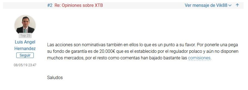 comentario sobre la seguridad de XTB