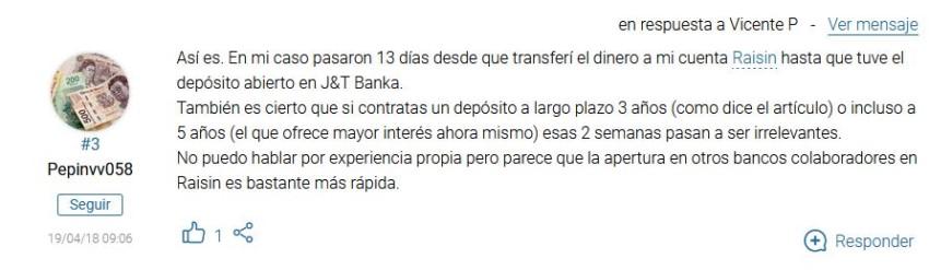 comentario en Rankia sobre J&T Banka